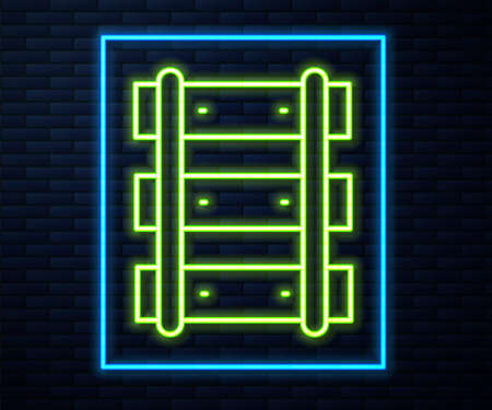 Glowing neon line Railway, railroad track icon isolated on brick wall background. Vector