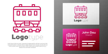Logotype line Passenger train cars icon isolated on white background. Railway carriage. Logo design template element. Vector