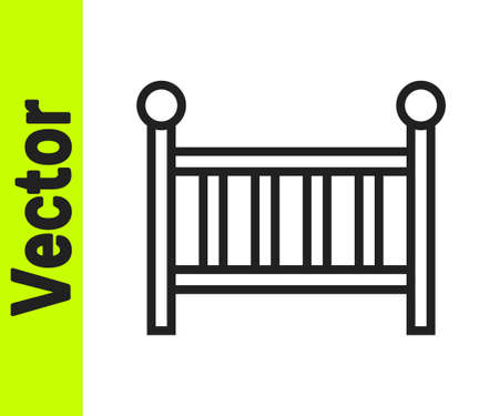 Black line Baby crib cradle bed icon isolated on white background. Vector