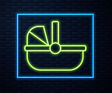 Glowing neon line Baby stroller icon isolated on brick wall background. Baby carriage, buggy, pram, stroller, wheel. Vector 矢量图像