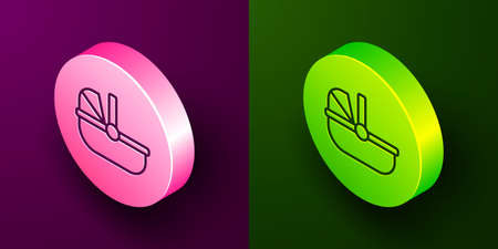 Isometric line Baby stroller icon isolated on purple and green background. Baby carriage, buggy, pram, stroller, wheel. Circle button. Vector 矢量图像
