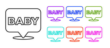 Black line Baby icon isolated on white background. Set icons colorful. Vector