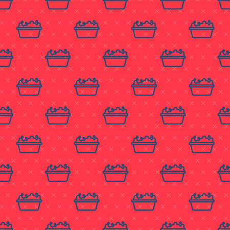 Blue line Baby bathtub with foam bubbles inside icon isolated seamless pattern on red background. Vector