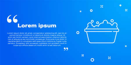 White line Baby bathtub with foam bubbles inside icon isolated on blue background. Vector