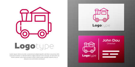 Logotype line Toy train icon isolated on white background. Logo design template element. Vector 矢量图像