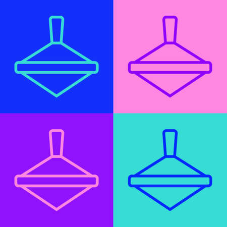 Pop art line Whirligig toy icon isolated on color background. Vector