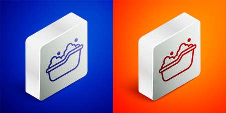 Isometric line Baby bathtub with foam bubbles inside icon isolated on blue and orange background. Silver square button. Vector