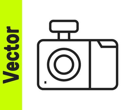 Black line Photo camera icon isolated on white background. Foto camera icon. Vector