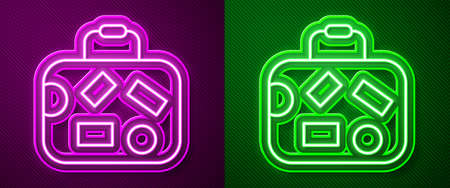 Glowing neon line Suitcase for travel icon isolated on purple and green background. Traveling baggage sign. Travel luggage icon. Vector 免版税图像 - 157525977