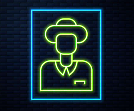Glowing neon line Tourist icon isolated on brick wall background. Travelling, vacation, tourism concept. Vector Ilustracja