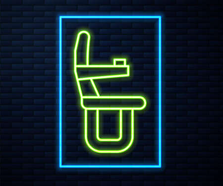 Glowing neon line Airplane seat icon isolated on brick wall background. Vector 矢量图像