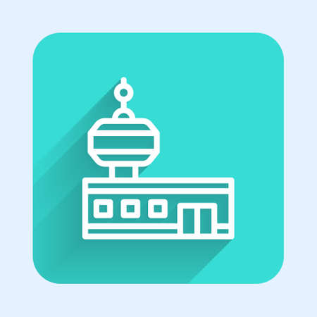White line Airport control tower icon isolated with long shadow. Green square button. Vector 矢量图像