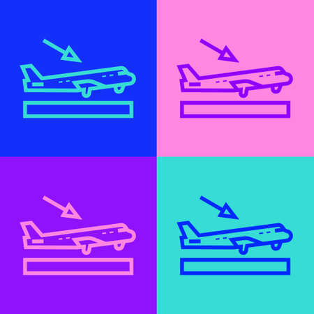 Pop art line Plane landing icon isolated on color background. Airplane transport symbol. Vector