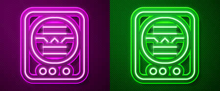 Glowing neon line Attitude indicator is an instrument used in an aircraft to inform the pilot of the orientation of the aircraft icon isolated on purple and green background. Vector