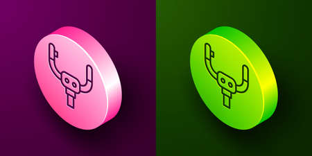 Isometric line Aircraft steering helm icon isolated on purple and green background. Aircraft control wheel. Circle button. Vector