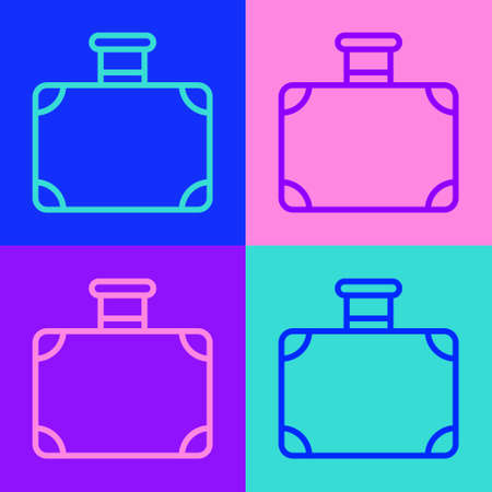 Pop art line Suitcase for travel icon isolated on color background. Traveling baggage sign. Travel luggage icon. Vector 免版税图像 - 157525577
