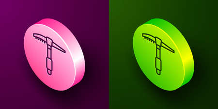Isometric line Ice axe icon isolated on purple and green background. Montain climbing equipment. Circle button. Vector