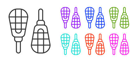 Black line Snowshoes icon isolated on white background. Winter sports and outdoor activities equipment. Set icons colorful. Vector