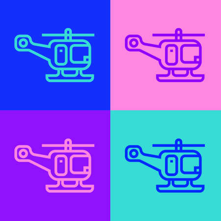 Pop art line Rescue helicopter aircraft vehicle icon isolated on color background. Vector