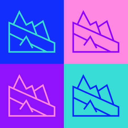 Pop art line Mountain descent icon isolated on color background. Symbol of victory or success concept. Vector Ilustrace