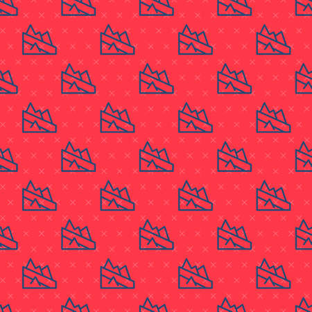 Blue line Mountain descent icon isolated seamless pattern on red background. Symbol of victory or success concept. Vector