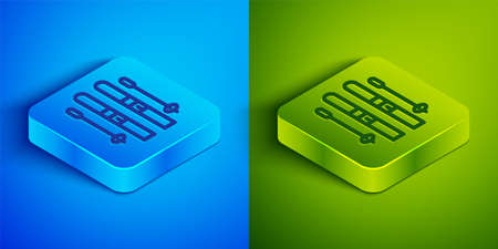 Isometric line Ski and sticks icon isolated on blue and green background. Extreme sport. Skiing equipment. Winter sports icon. Square button. Vector