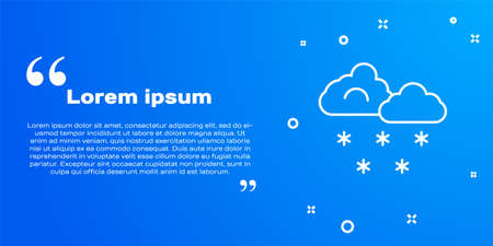 White line Cloud with snow icon isolated on blue background. Cloud with snowflakes. Single weather icon. Snowing sign. Vector