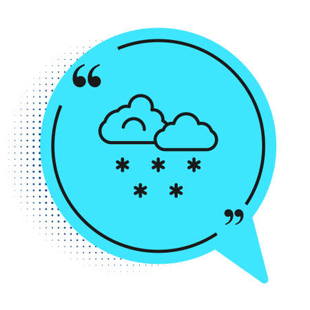 Black line Cloud with snow icon isolated on white background. Cloud with snowflakes. Single weather icon. Snowing sign. Blue speech bubble symbol. Vector