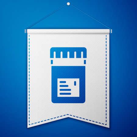 Blue Biologically active additives icon isolated on blue background. White pennant template. Vector Vektoros illusztráció