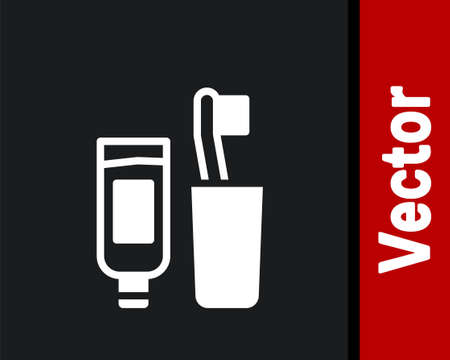 White Toothbrush and tube of toothpaste icon isolated on black background. Disposable bathroom supplies. Vector
