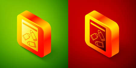 Isometric Evidence bag and bullet icon isolated on green and red background. Square button. Vector