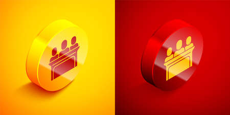 Isometric Jurors icon isolated on orange and red background. Circle button. Vector