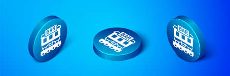 Isometric Restaurant train icon isolated on blue background. Blue circle button. Vector