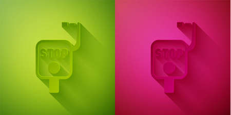 Paper cut Emergency brake icon isolated on green and pink background. Paper art style. Vector