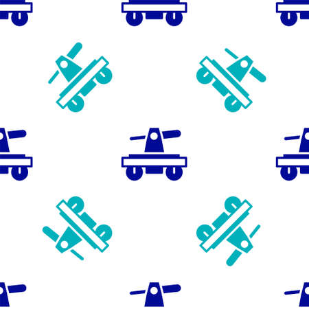 Blue Draisine handcar railway bicycle transport icon isolated seamless pattern on white background. Vector