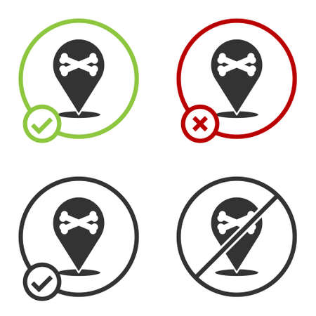 Black Location pirate icon isolated on white background. Circle button. Vector