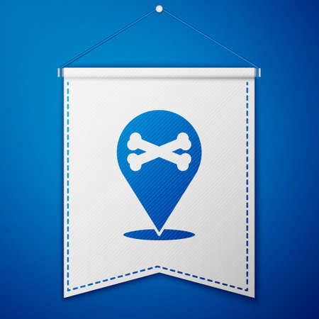 Blue Location pirate icon isolated on blue background. White pennant template. Vector