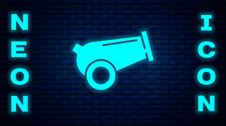 Glowing neon Cannon icon isolated on brick wall background. Medieval weapons. Vector