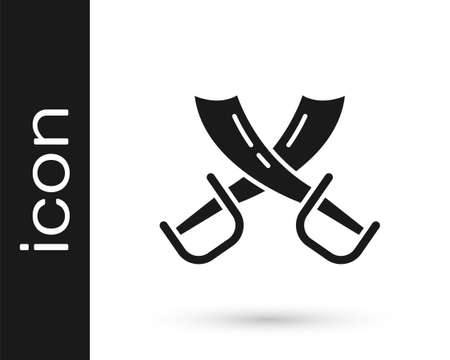 Black Crossed pirate swords icon isolated on white background. Sabre sign. Vector Vettoriali