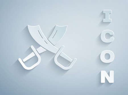 Paper cut Crossed pirate swords icon isolated on grey background. Sabre sign. Paper art style. Vector