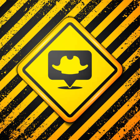 Black Location pirate icon isolated on yellow background. Warning sign. Vector