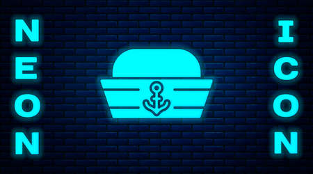 Glowing neon Sailor hat icon isolated on brick wall background. Vector