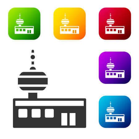 Black Airport control tower icon isolated on white background. Set icons in color square buttons. Vector