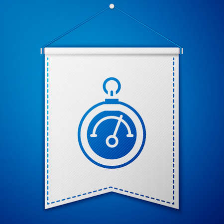 Blue Barometer icon isolated on blue background. White pennant template. Vector Illusztráció