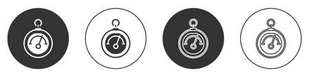 Black Barometer icon isolated on white background. Circle button. Vector