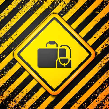 Black Suitcase for travel icon isolated on yellow background. Traveling baggage sign. Travel luggage icon. Warning sign. Vector