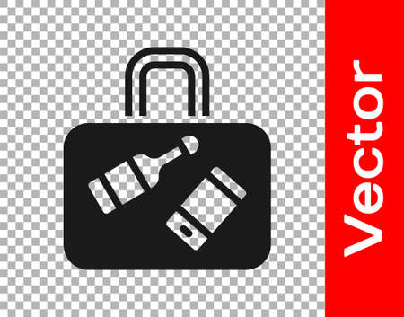 Black Suitcase for travel icon isolated on transparent background. Traveling baggage sign. Travel luggage icon. Vector 矢量图像