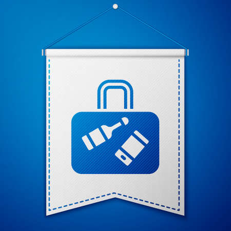 Blue Suitcase for travel icon isolated on blue background. Traveling baggage sign. Travel luggage icon. White pennant template. Vector