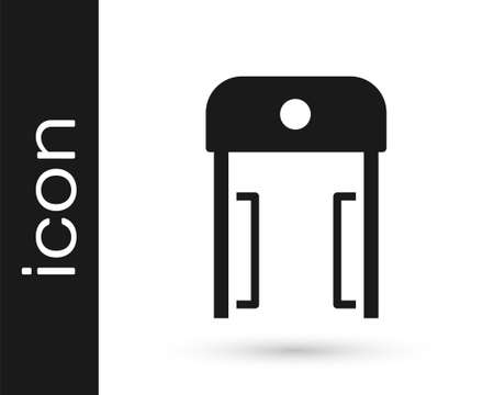Black Metal detector in airport icon isolated on white background. Airport security guard on metal detector check point. Vector