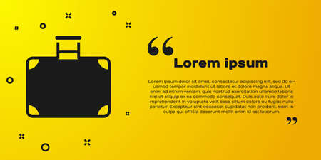 Black Suitcase for travel icon isolated on yellow background. Traveling baggage sign. Travel luggage icon. Vector 矢量图像